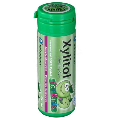 MIRADENT Xylitol Chewing Gum For Kids - guma do żucia z ksylitolem przeciw próchnicy dla dzieci, 30 szt, smak zielone jabłko APPLE