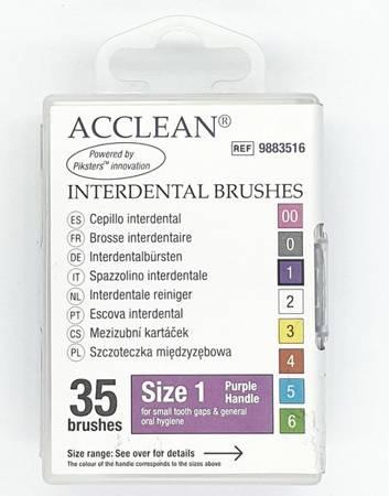 ACCLEAN Interdental 1 - szczoteczki międzyzębowe  SMALL 0.45, fiolet, 35 szt