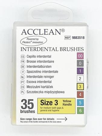 ACCLEAN Interdental 3 - szczoteczki międzyzębowe  MEDIUM 0.52, żółte 35 szt