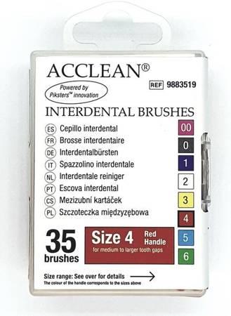 ACCLEAN Interdental 4 - szczoteczki międzyzębowe  MEDIUM + ORTO, 0.52, czerwone 35 szt