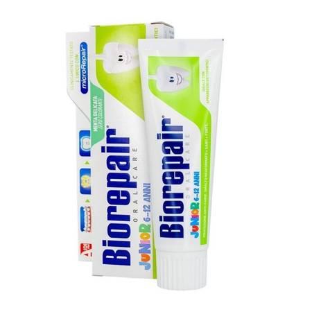 BIOREPAIR® Junior 6/12 - pasta do mycia zębów do naprawy szkliwa dla dzieci w wieku 6-12 lat, bez fluoru, 75 ml