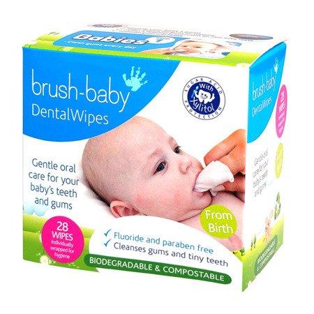 BRUSH-BABY Dental Wipes - chusteczki z xylitolem do czyszczenia dziąseł i zębów mlecznych 0-16 miesięcy, smak bananowy, 28 szt
