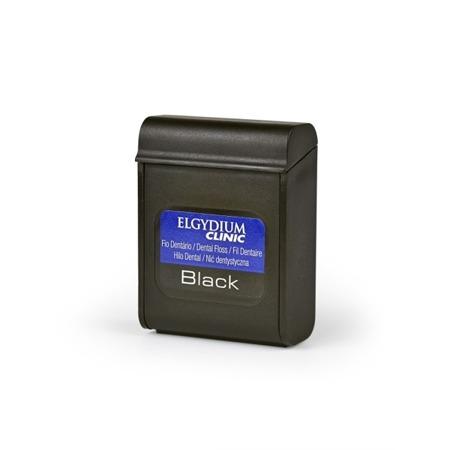 ELGYDIUM Clinic BLACK -  czarna nić dentystyczna nasączona chlorheksydyną do wąskich przestrzeni międzyzębowych, 50 m