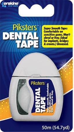 ERSKINE PIKSTERS DentalTape -  nitka w formie taśmy z PTFE do wąskich przestrzeni międzyzębowych, 50 m