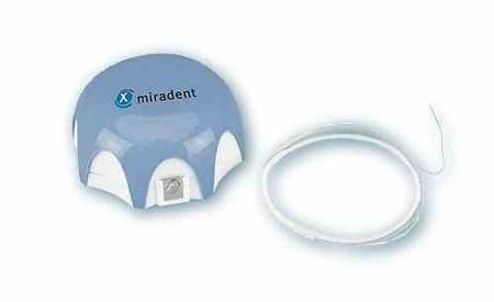 MIRADENT Mirafloss Implant CHX  Mediumśr.2,2mm (niebieska)  - antybakteryjna puszysta nitka dentystyczna na rolce, 50 sztuk
