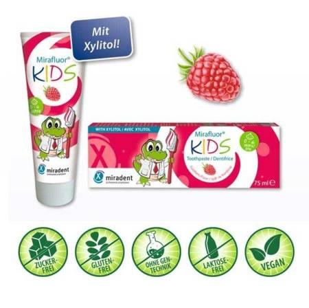 Miradent MIRAFLUOR KIDS pasta przeciw próchnicy zębów, 75 ml, malinowa