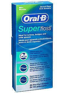 ORAL-B Super Floss - Nić dentystyczna do czyszczenia aparatów ortodontycznych, mostów 50x60cm