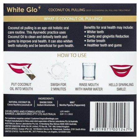 White Glo COCONUT OIL PULLING – wyciąg z oleju kokosowego w saszetkach - wybielanie, oczyszanie z toksyn, 10x 10 ml