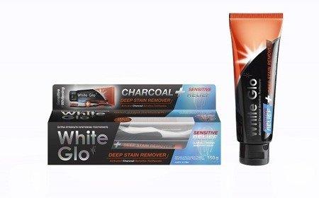 White Glo DEEP STAIN CHARCOAL SENSITIVE czarna pasta węglowa do wybielania zębów wrażliwych, 100 ml + szczoteczka gratis