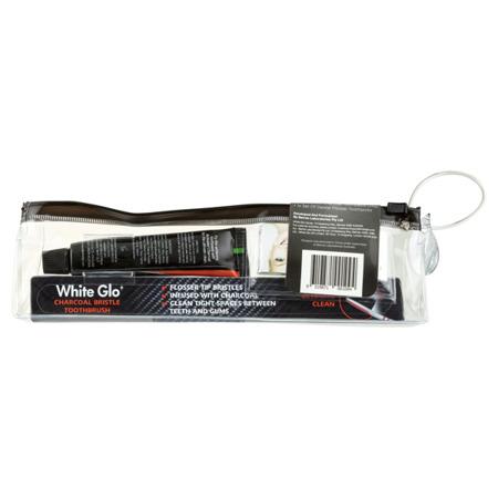 White Glo DEEP STAIN CHARCOAL  TRAVEL czarna pasta węglowa do wybielania zębów zestaw podróżny, turystyczny, hotelowy