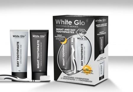 White Glo Night&Day CHARCOAL  - zestaw past wybielających na dzień i na noc, pełna ochrona 24 h, GRATIS szczoteczka do mycia zębów